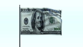 Dollar Flag Waving, Seamless Loop, stock footage. Video stock video footage