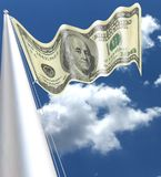 Dollar flag waving in the wind with silk aspect silky One hundred dolla. One hundred dollas waving in the wind on a flagpole Benjamin Franklin smiling for all Stock Photo