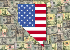 dollar flagga nevada royaltyfri illustrationer