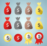 Dollar flat style set Royalty Free Stock Images