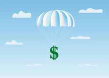 The dollar flies on a parachute Stock Photos