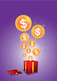 Dollar floating from gift box Royalty Free Stock Photos
