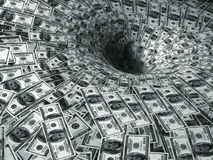Dollar flow in black hole Royalty Free Stock Image