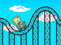 Dollar fluctuations pop art vector illustration Stock Image