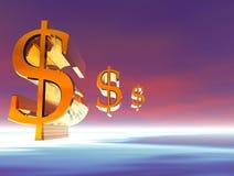 dollar flyga stock illustrationer