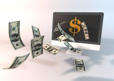 Dollar flying from Desktop Royalty Free Stock Photos