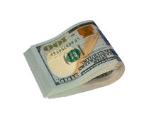 Dollar folded in half. On a white background royalty free stock images