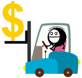 A dollar on fork lift Royalty Free Stock Photo