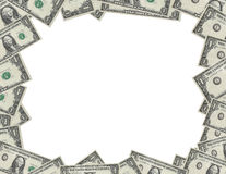Dollar frame. American dollar bills forming a border, serial numbers removed Royalty Free Stock Photography