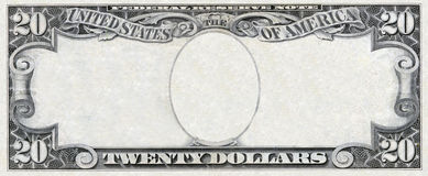 Dollar frame. Old twenty dollars empty frame Isolated on white Royalty Free Stock Photography