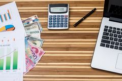 Dollar, franc, euro, yuan and yen with calculator and laptop, businesss graph.  royalty free stock photos