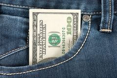 Dollar in front pocket Stock Photography