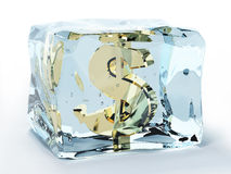 Dollar frozen in ice. Golden dollar frozen in ice cube Royalty Free Stock Image