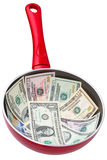 Dollar in a frying pan Stock Images