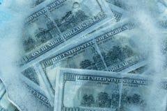 100 dollar fryst melt Royaltyfri Fotografi