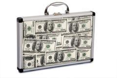 dollar fyllde resväska Arkivbilder