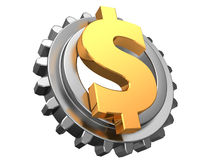 Dollar and gear wheel Royalty Free Stock Images