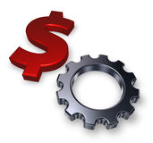 Dollar and gear wheel Stock Photo