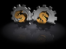 Dollar gears Royalty Free Stock Images