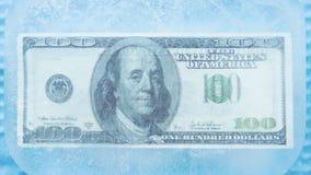 100 Dollar gefrorene Schmelze stock video