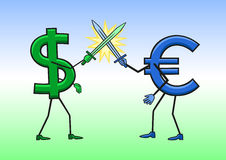 Dollar gegen Euro Stockbilder