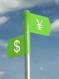 Dollar gegen Yen Stockbild