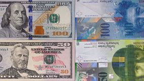 100 Dollar Geldhintergrund 50 Schweizer Franken Stockfotografie