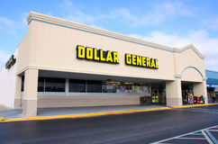 Dollar General discount retail store. Exterior of a Dollar General discount retail store on a sunny morning Royalty Free Stock Photos
