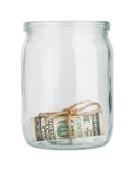 Dollar in a glass jar Royalty Free Stock Photo