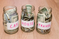 Dollar in glass jar with house, car, education, wedding, travel label, Royalty Free Stock Photo