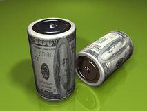 Dollar Gleichstrom-Batterien Stockfoto
