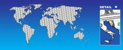 Dollar globe. On blue background Stock Illustration