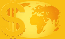 Dollar and Globe Royalty Free Stock Images