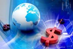 Dollar and globe Stock Photography