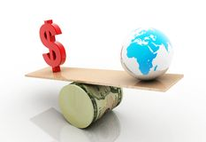 Dollar and globe Stock Image