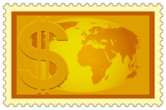 Dollar and Globe on stamp Royalty Free Stock Images
