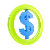 Dollar glossy sign inside the circle Stock Image