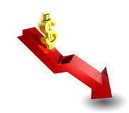 The Dollar Is Going Down Royalty Free Stock Photos