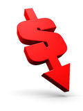 Dollar going down. A combination of a dollar sign and an arrow pointing downwards Royalty Free Stock Photo