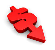 Dollar going down. A combination of a dollar sign and an arrow pointing downwards Stock Image