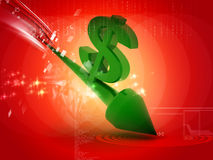 Dollar going down. 3d renderd dollar with down arrow in white background Stock Photography