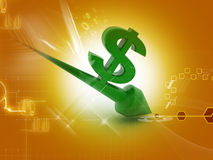 Dollar going down. 3d renderd  Dollar going down in colour background Stock Photography
