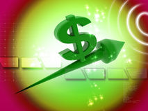 Dollar going up. 3d renderd dollar with up arrow in white background Stock Images