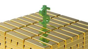 Dollar on gold Royalty Free Stock Images