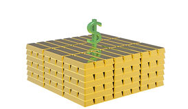 Dollar on gold Stock Photo