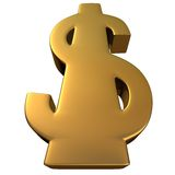 Dollar in Gold 3. Dollar in Gold in white background, easy to isolate royalty free illustration