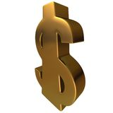 Dollar in Gold 4. Dollar in Gold in white background, easy to isolate stock illustration