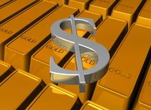 Dollar on gold bars Royalty Free Stock Photos