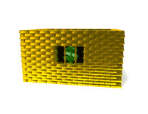 Dollar in gold cage. Green symbol dollar in cage from gold brick Royalty Free Stock Photos