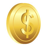 Dollar gold coin Royalty Free Stock Photos